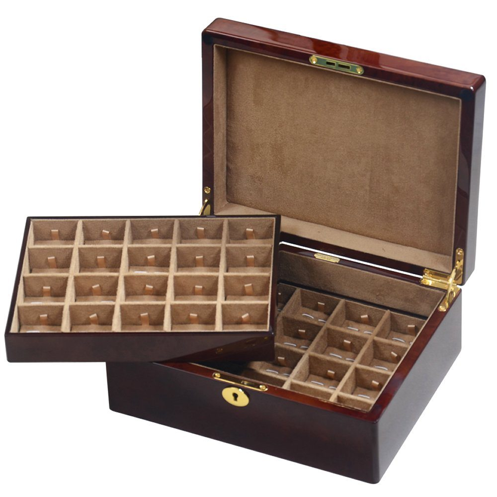 Camphor Burl Wood Veneer 40 Cufflink Box With Lock Hillwood