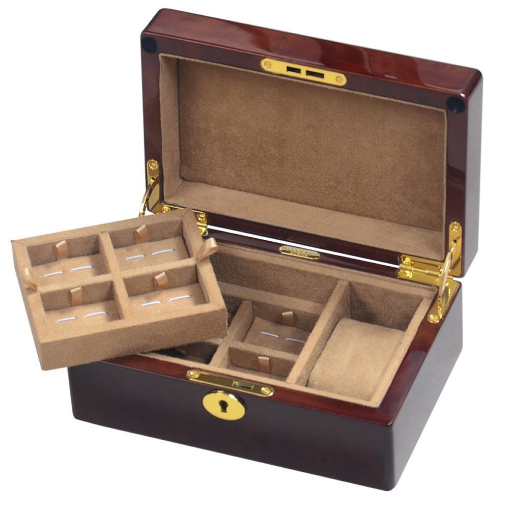 Camphor burl wood single watch gents valet box hillwood for Men s jewelry box for watches and cufflinks