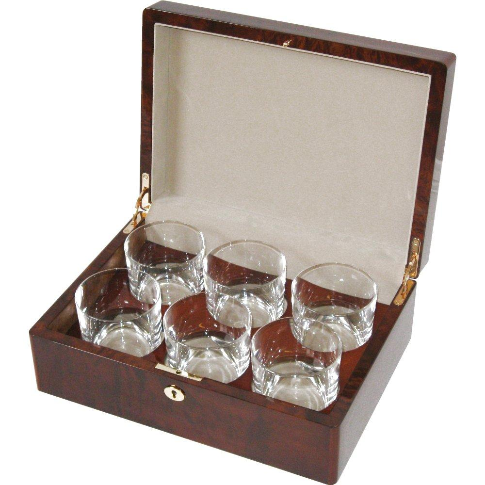 camphor burl 6 whiskey glass set hillwood. Black Bedroom Furniture Sets. Home Design Ideas
