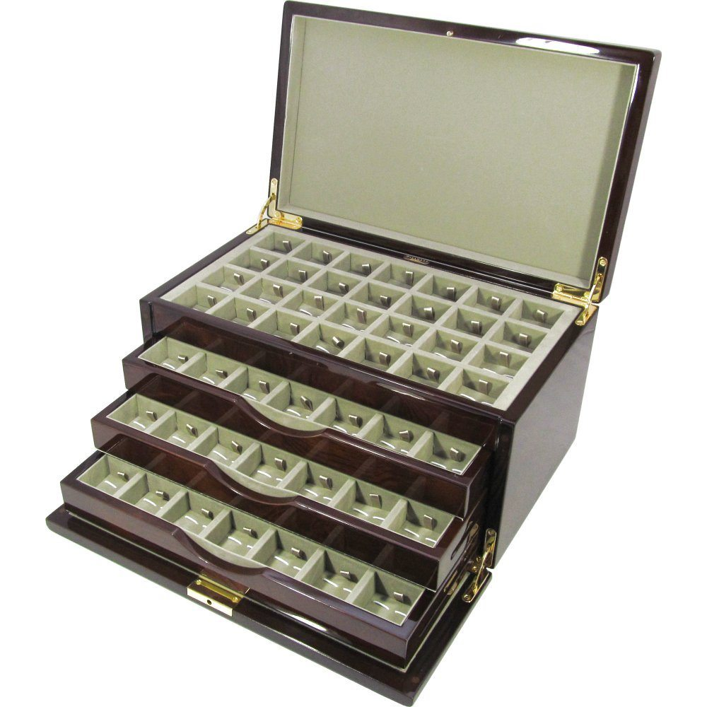 Camphor Burl Wood 112pc Cufflink Box With Lock Hillwood
