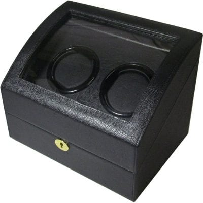 watch winders hillwood black leather double automatic watch winder