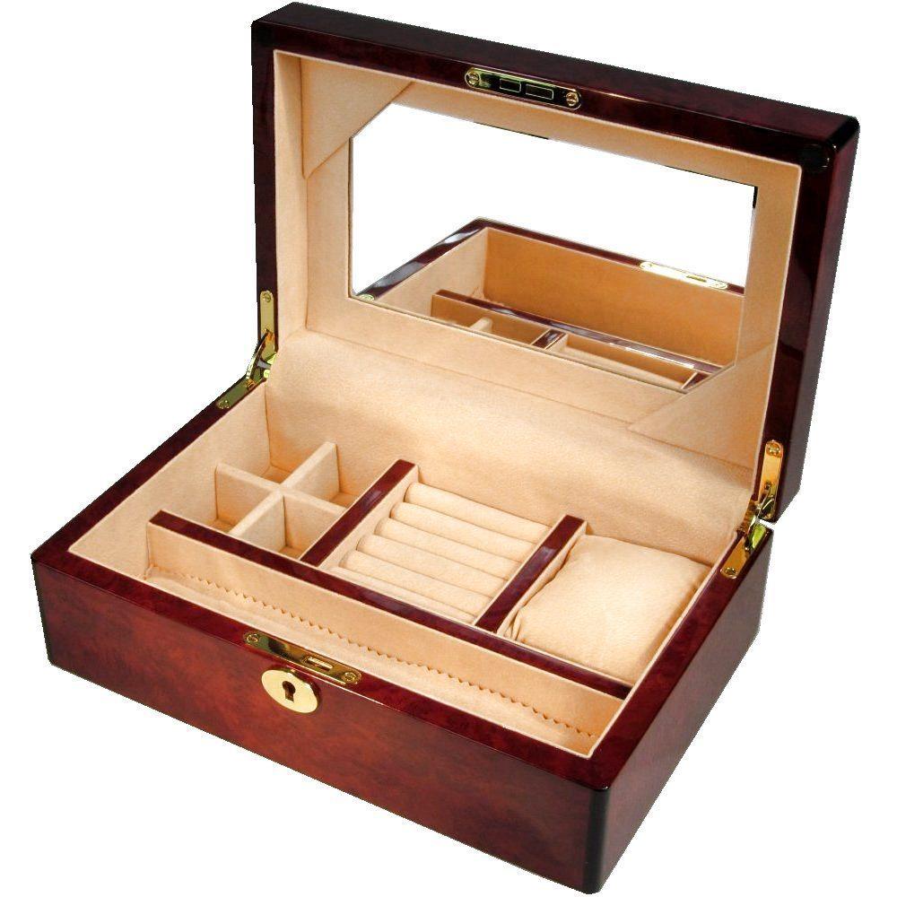 Letterbox Uk: Medium Laminated Makah Burl Jewellery Box With Lock