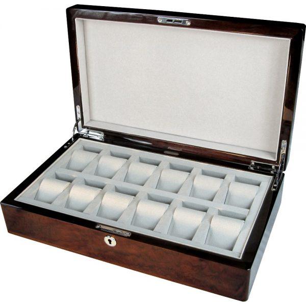 English Burl Walnut 12 Watch Storage Box With Lock