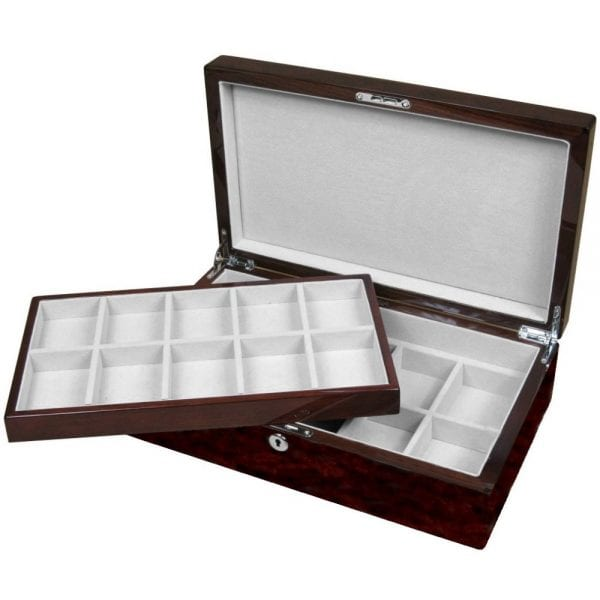 7341e087cce English Burl Walnut 20 Pocket Watch Storage Box - Hillwood